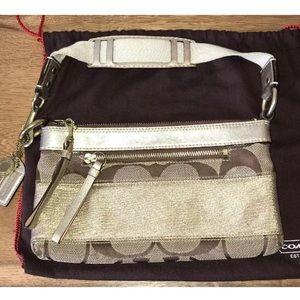 Coach gold/beige small shoulder bag